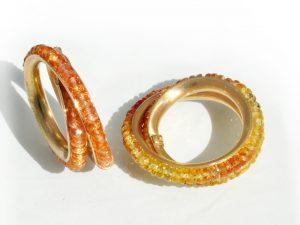 Wickelringe mit orangenen Safiren
