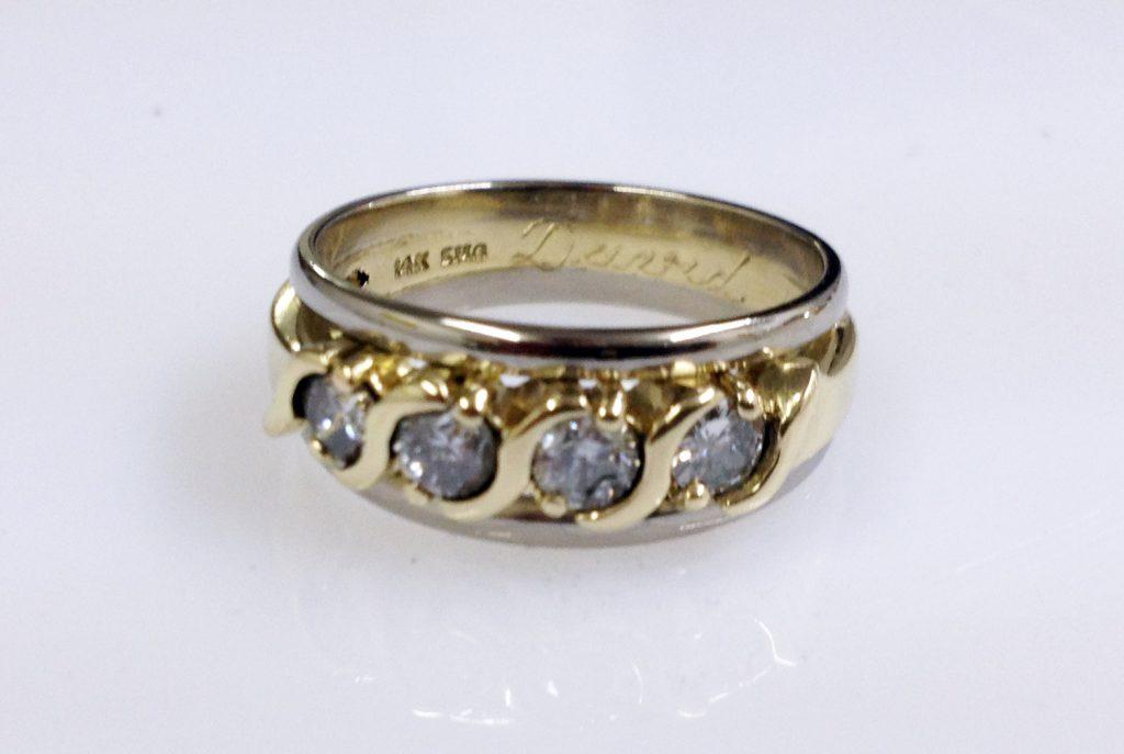 Brillantring kombiniert mit zwei weißgoldenen Ringen