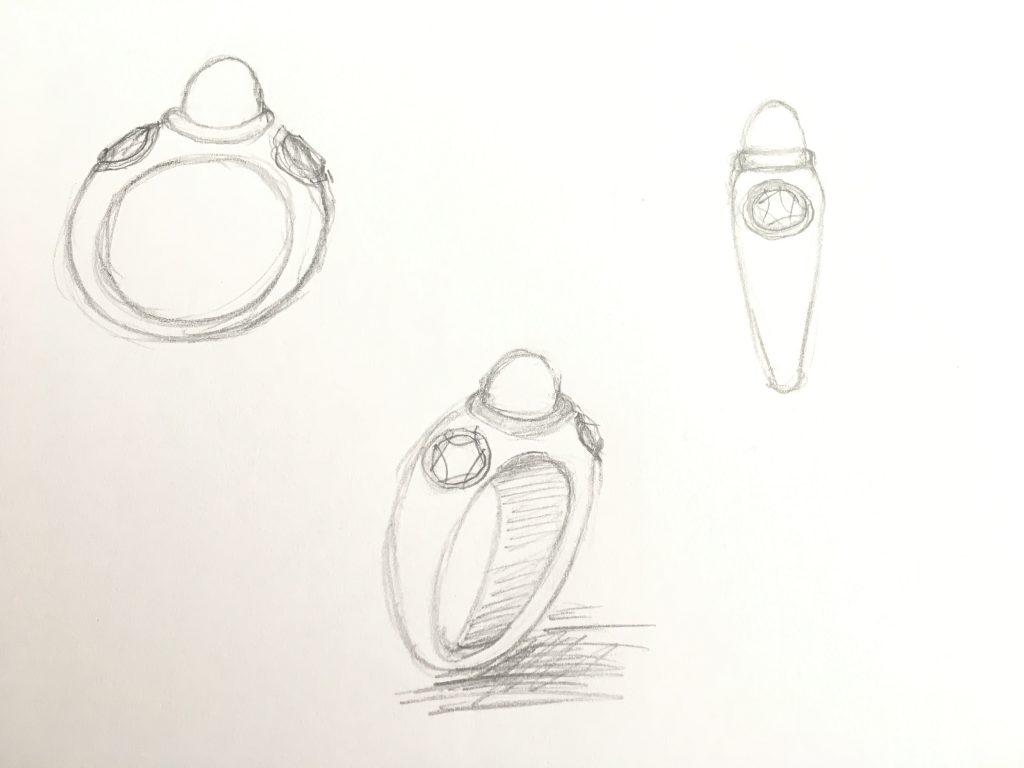 Skizze des Safir-Brillantringes