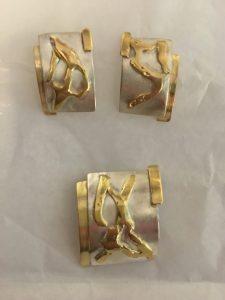 Schmuckset Silber mit 750/000 Gelbgold
