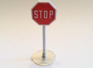 Stoppschild mit 925/000 Silberfuß